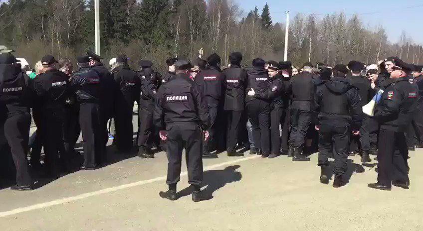 """Около полигона """"Ядрово"""" задержали порядка 10 участников акции протеста"""