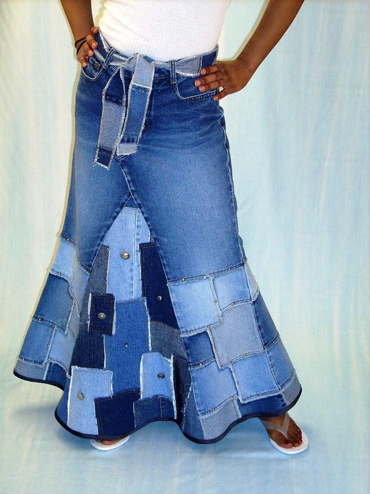 Джинсовая юбка сшить из старых джинсов 94