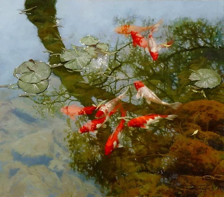 Акварели с красными рыбами художника Tian Haibo как символ гармонии и умиротворения