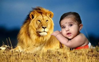 Лев и дети