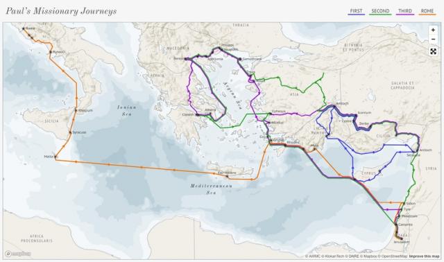 Находка: карта странствий апостола Павла