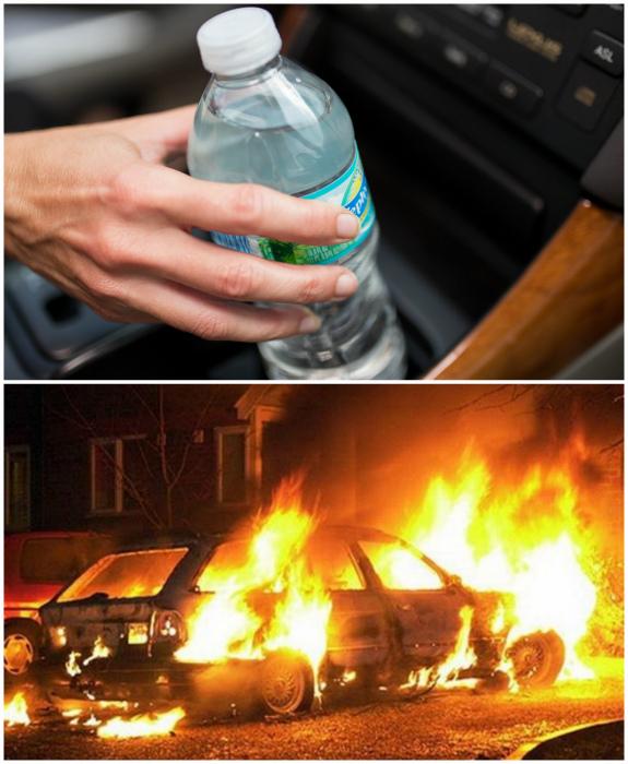 Оставлять в машине бутылку с водой.