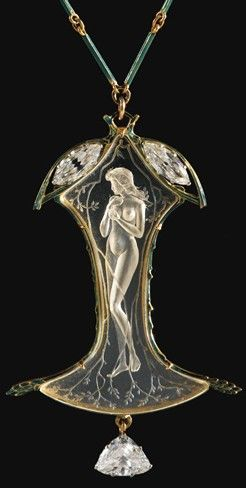 Renй Lalique Glass or Rock Crystal Pendant & Diamonds