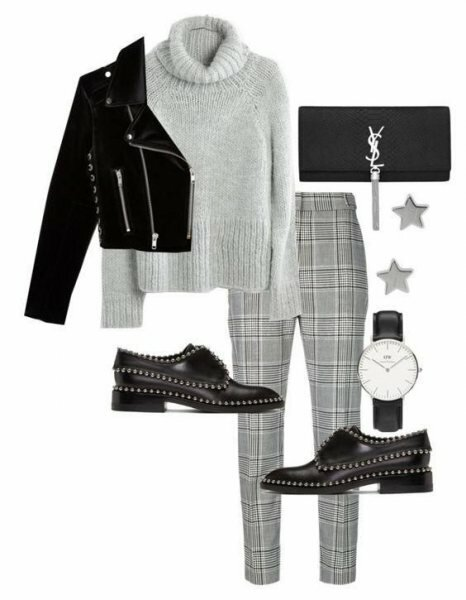 6 хитростей, как носить клетчатые брюки в черно-серой гамме и выглядеть ярко