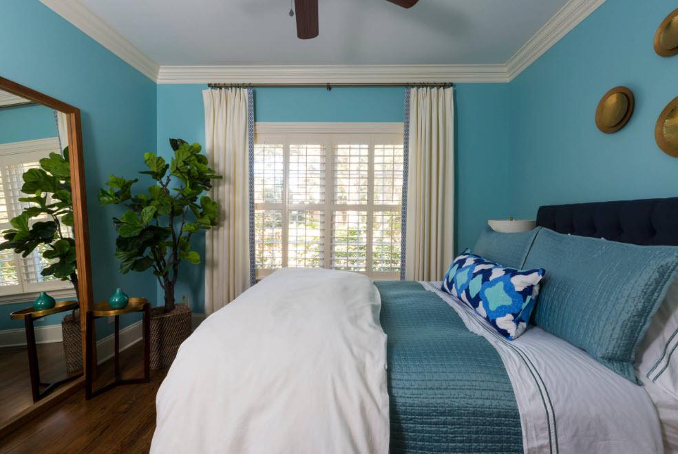Спальня в прохладной гамме