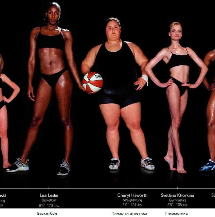 Тела профессиональных спортсменов в разных видах спорта
