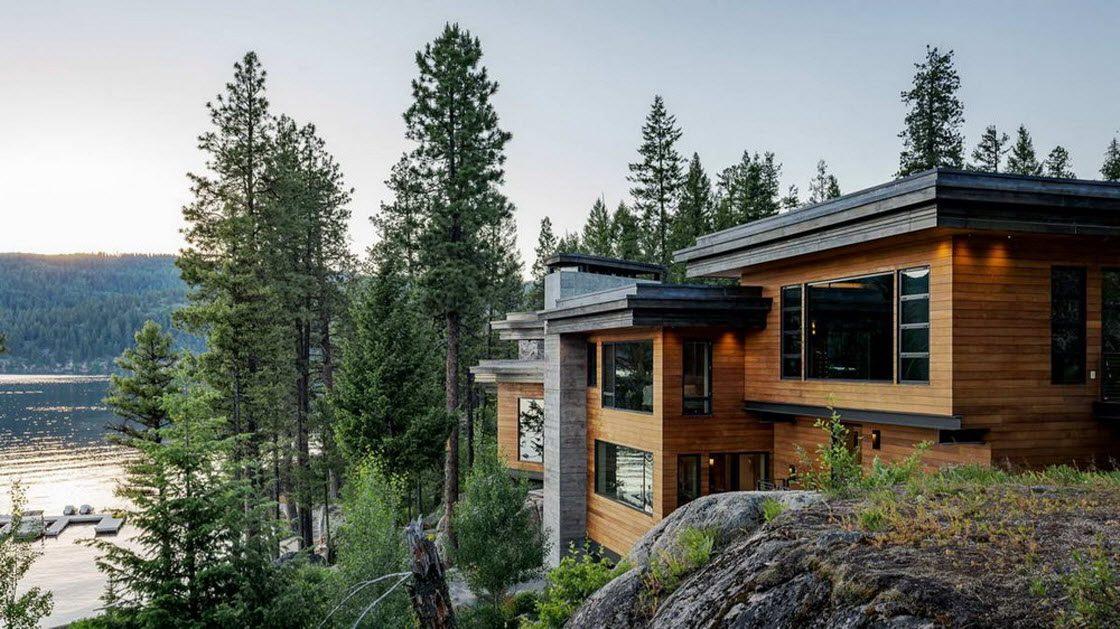 Дом на утёсе у озера в США