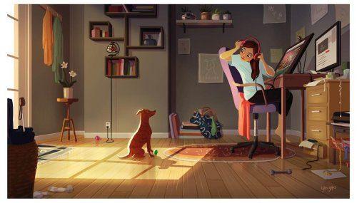 Весёлые иллюстрации о том, что владельцы собак никогда не бывают одиноки