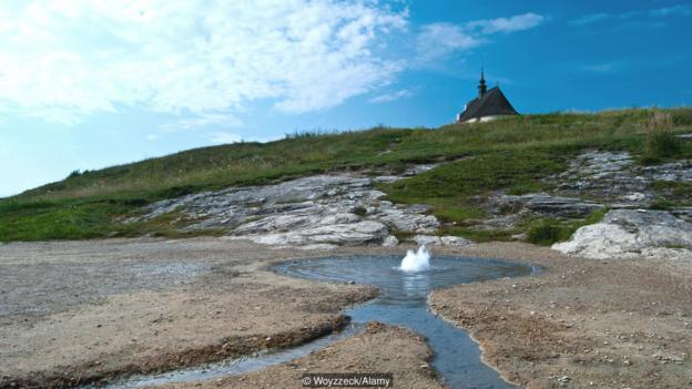 Geyser of mineral water Siva brada around Spisskie Podhradie, Slovakia