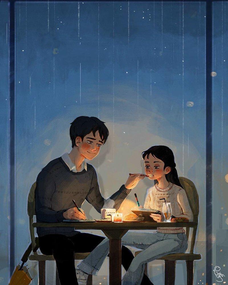 А если приходится засиживаться допоздна с работой - он и с ложечки покормит Любовь, Любовь . нежность . иллюстрация. художник, иллюстратор, иллюстрации, мимими, мужчина и женщина, чувства