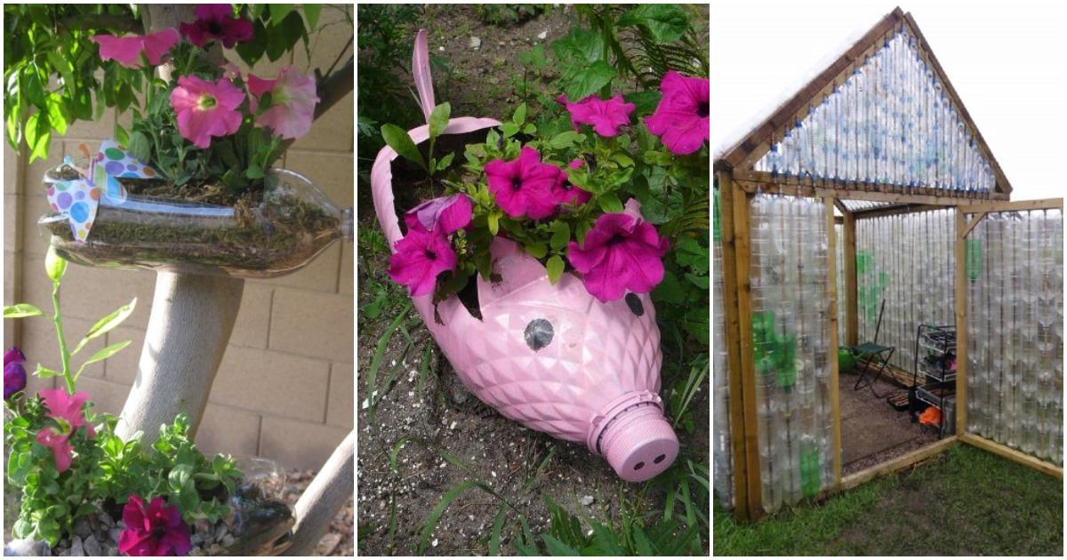 Креативный декор для сада и огорода из пластиковых бутылок