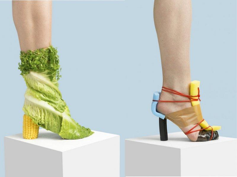 Женская обувь из подручных предметов