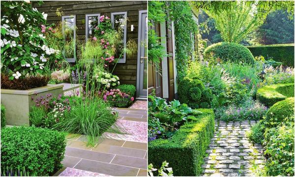 Слева: дорожка из гравия и натурального камня. Справа: дорожка из булыжника, обрамленная живой изгородью из самшита.