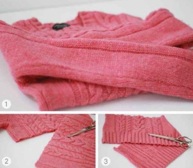 Старый свитер в мусорное вед…