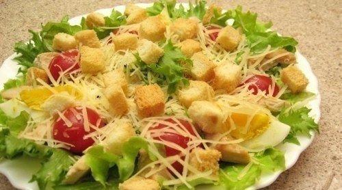Очень вкусный салатик цезарь