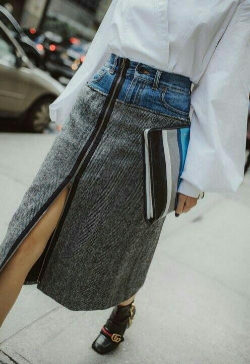 Креативная юбка из джинсов