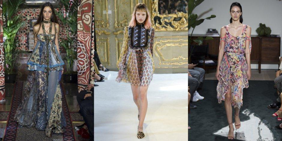 Лоскутные платья Roberto Cavalli, Giamba и Jason Wu