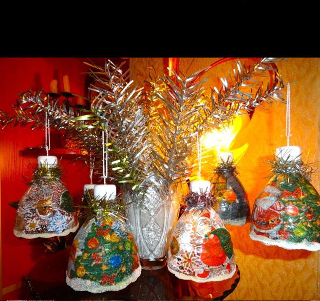 Новогодние игрушки своими руками из пластиковых бутылок колокольчики