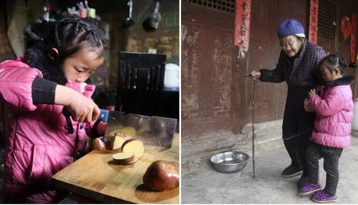 Маленькая хозяйка: 5-летняя девочка присматривает за бабушкой и прабабушкой, оставшись сиротой при живых родителях