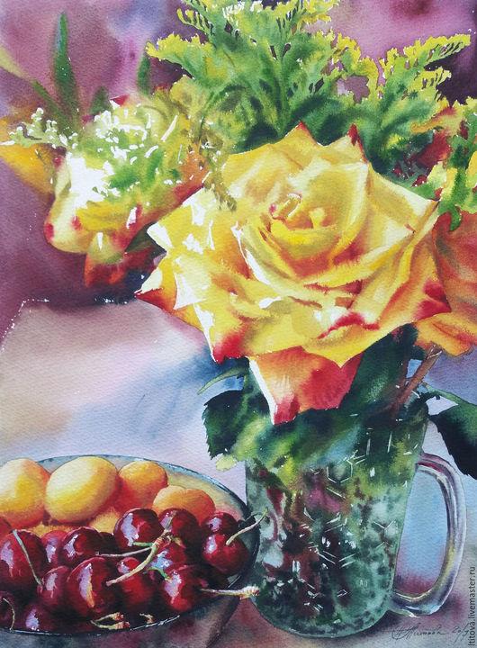 """Картины цветов ручной работы. Ярмарка Мастеров - ручная работа. Купить акварель """"Палитра лета""""/не оформлена/. Handmade. Желтый"""