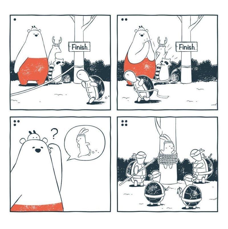 «Другая версия той гонки» забавно, комиксы, подборка, рисунки, юмор