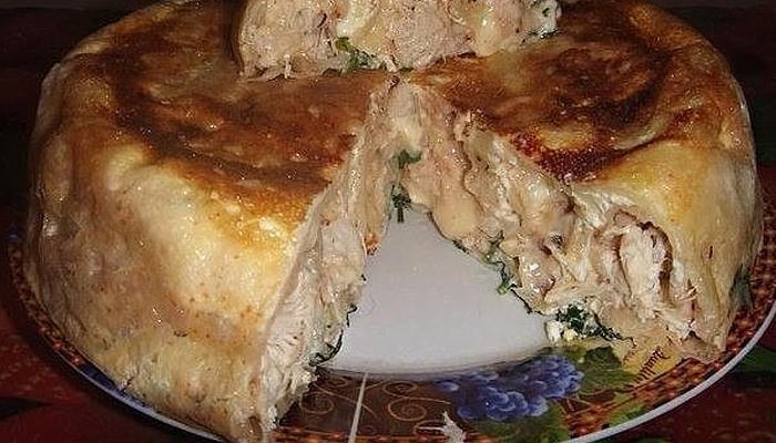 Пирог на кефире с курицей