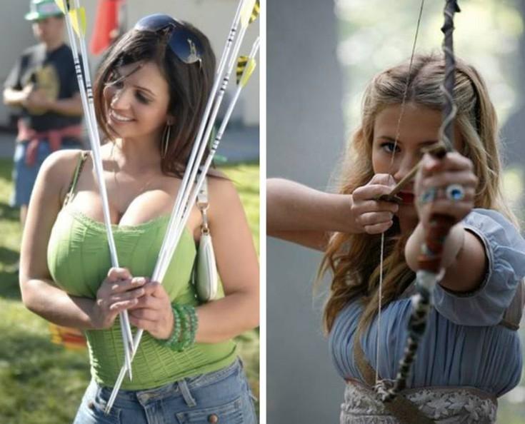 Прекрасные девушки с мощными луками девушки, девушки с луком, красота, лук, лучница, оружие, подборка