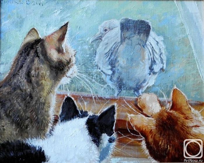 Голубь и три кота (700x560, 335Kb)