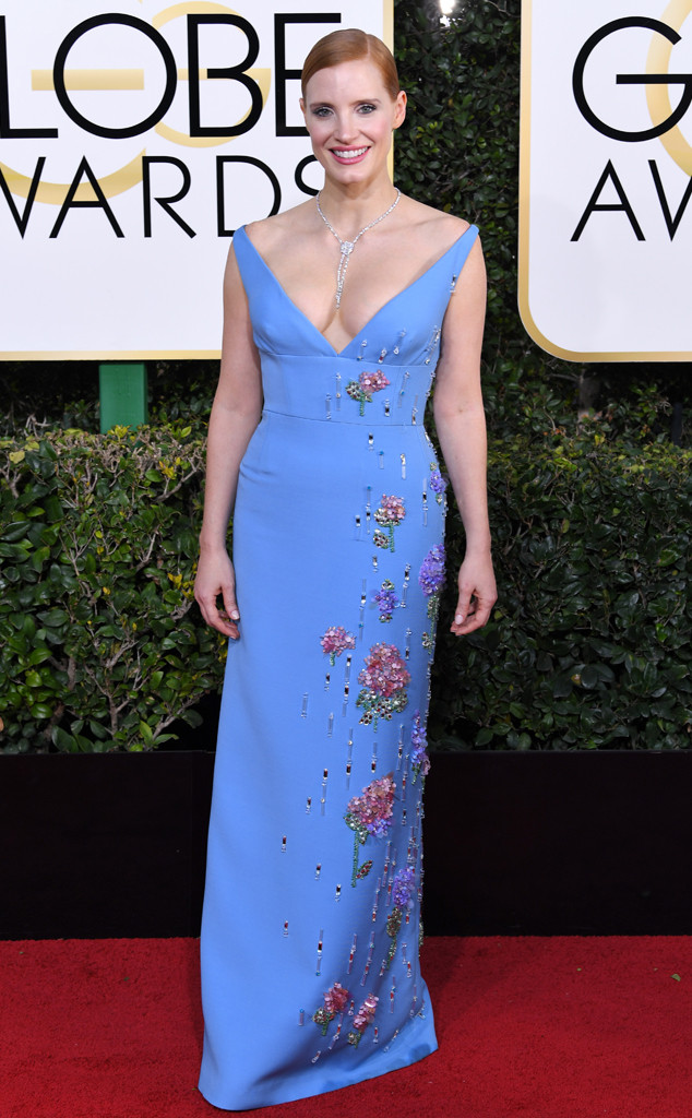 Jessica Chastain In Prada Golden Globes 2017