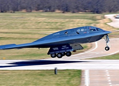 """This April 9, 2014 US Air Force handout image shows a B-2 stealth bomber taking off during a base exercise at Whiteman Air Force Base, Missouri. The US Air Force has deployed two nuclear-capable B-2 stealth bombers to a British air base for exercises with NATO allies, the Pentagon said on June 9, 2014. The deployment, which the Pentagon said was pre-planned and short-term, comes against a backdrop of tension with Russia over unrest in Ukraine. Whiteman AFB, is the only operational base for the B-2. AFP PHOTO /HANDOUT /US AIR FORCE / SrA Bryan Crane == RESTRICTED TO EDITORIAL USE / MANDATORY CREDIT: """"AFP PHOTO HANDOUT-US Air Force / SrA Bryan CRANE """"/ NO MARKETING - NO ADVERTISING CAMPAIGNS – NO A LA CARTE SALES / DISTRIBUTED AS A SERVICE TO CLIENTS =="""