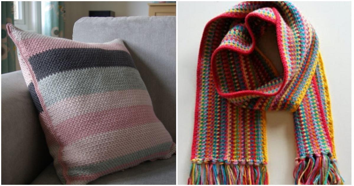 Узор для вязания крючком «мох»:  позволяет эстетично объединять в изделии пряжу разных цветов, и даже текстур