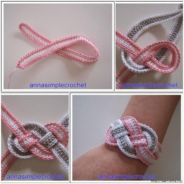 браслеты вязанные крючком схема