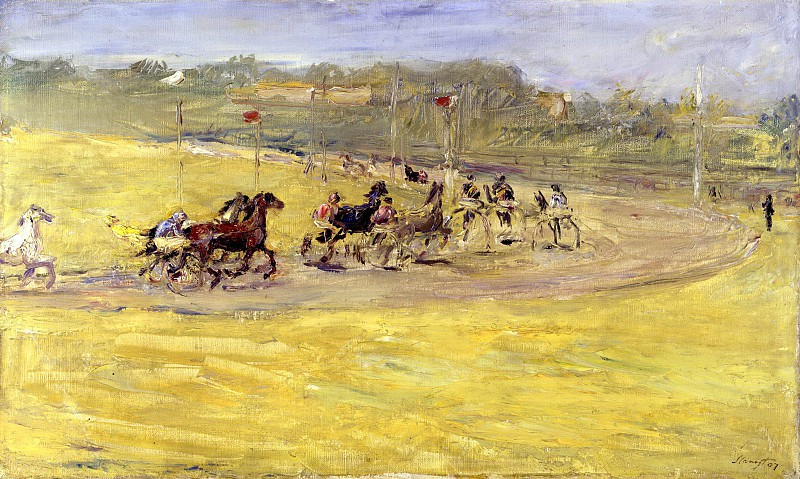 "Макс Слефогт. Скачки. 1907.  ""Harness Racing"".Max Slevogt - Oil On Canvas - 1907 - Staatliche Museen zu Berlin (Germany)"