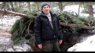 Зимняя ночевка в яме без снаряжения
