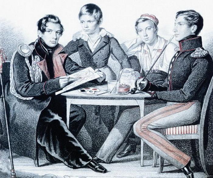 К. Гампельн. Портрет сыновей генерала П.П. Коновницына, Петра, Алексея, Григория и Ивана