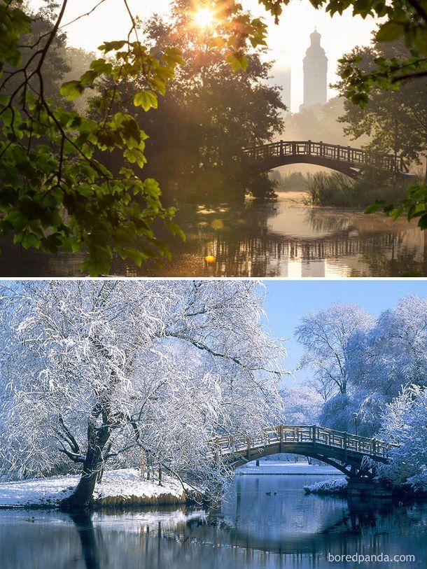 25 фотографий, на которых зима всё преобразила, ДО и ПОСЛЕ