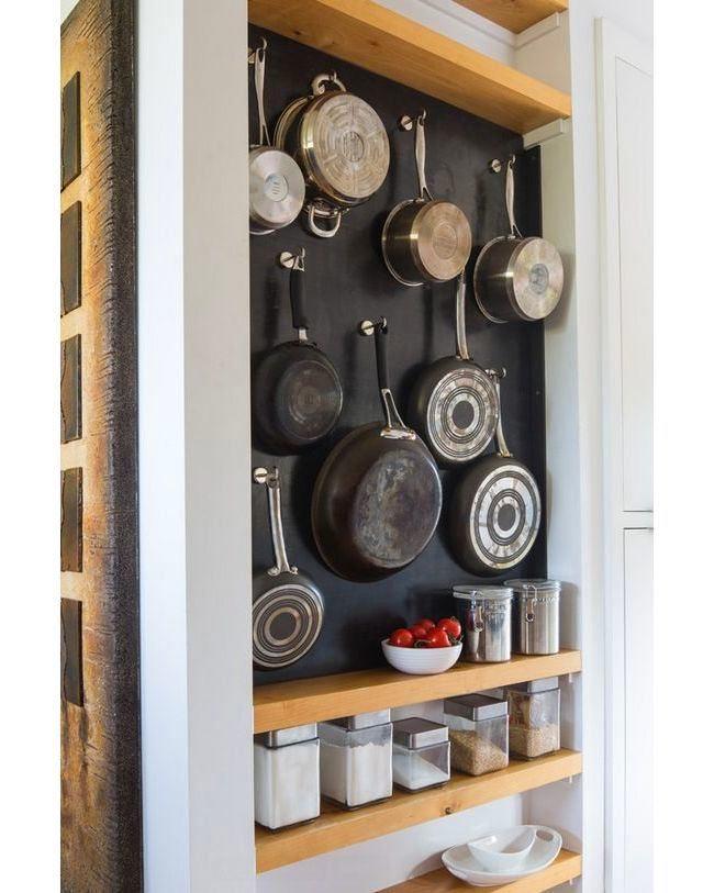 Идеи хранения сковородок и кастрюль