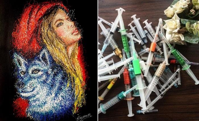«Инъекционное искусство»: Девушка создает картины, используя шприцы вместо кисти