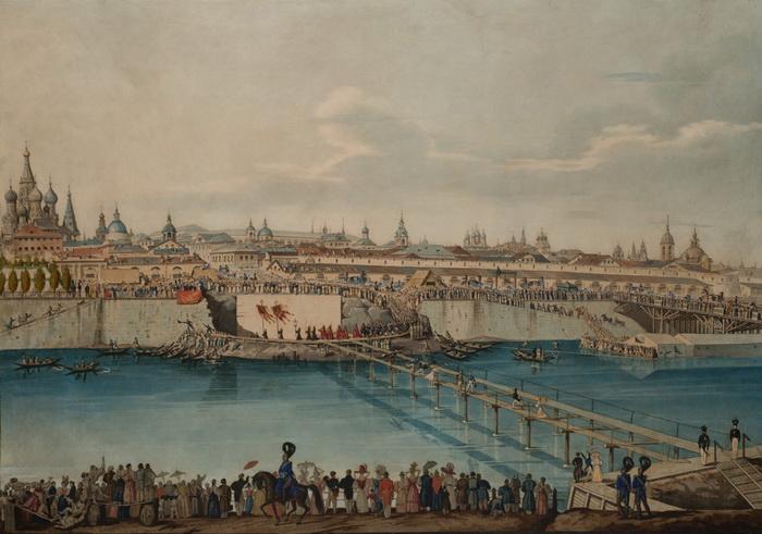 К. Гампельн. Закладка Москворецкого моста в Москве