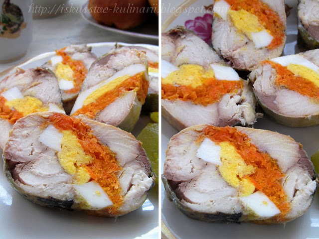 Рулет из скумбрии с яйцом и морковью