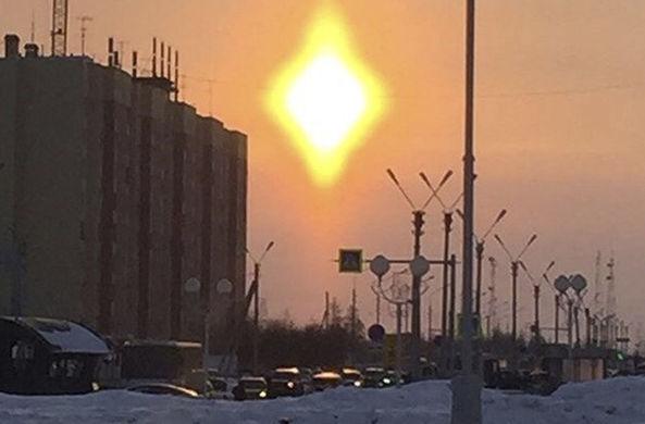 Над Новым Уренгоем появилось ромбовидное солнце