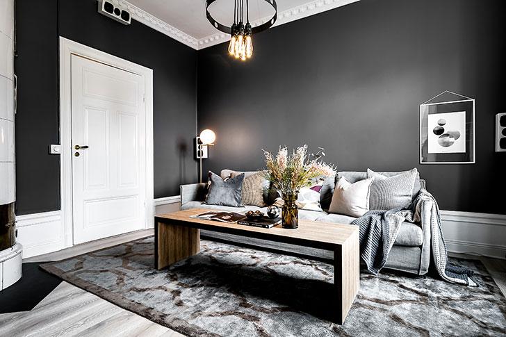 Изящность темных оттенков: квартира в Стокгольме (115 кв. м)