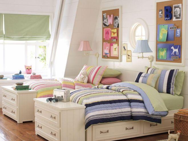 Комната для двойняшек мальчика и девочки