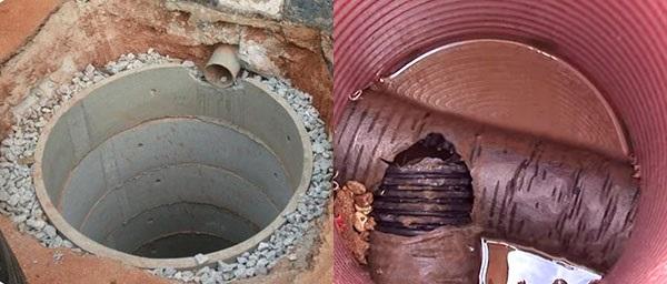 водосбор из бетонных колец и пластиковой бочки