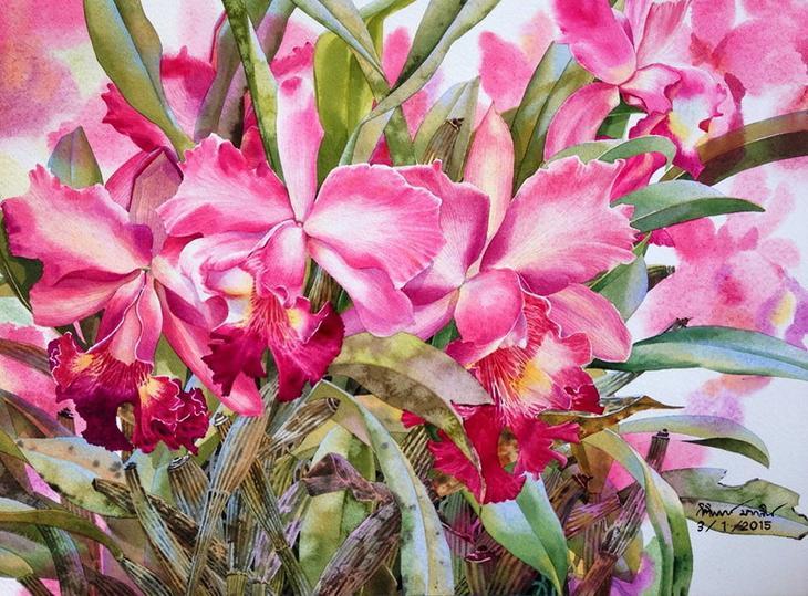 Цветы в творчестве художника - акварелиста Kitipong Maksin