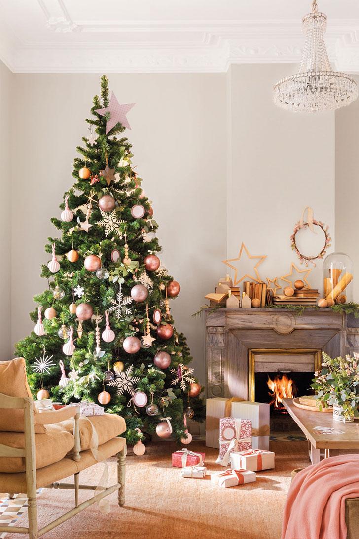 Царство розового: рождественский декор в нежных тонах
