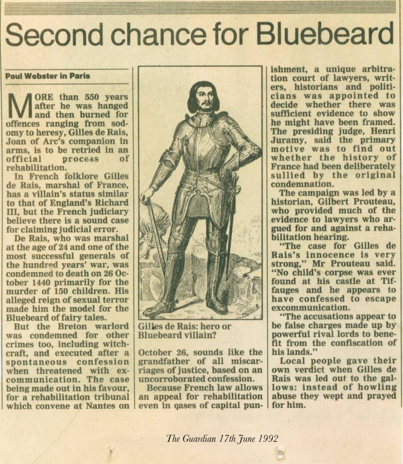 Маршал де Рэ: лучший друг короля, ставший Синей Бородой