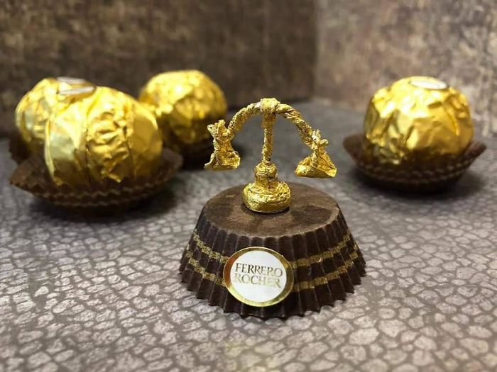 Chinese Artist Turns Used Ferrero Rocher Packages Into Tiny Sculptures