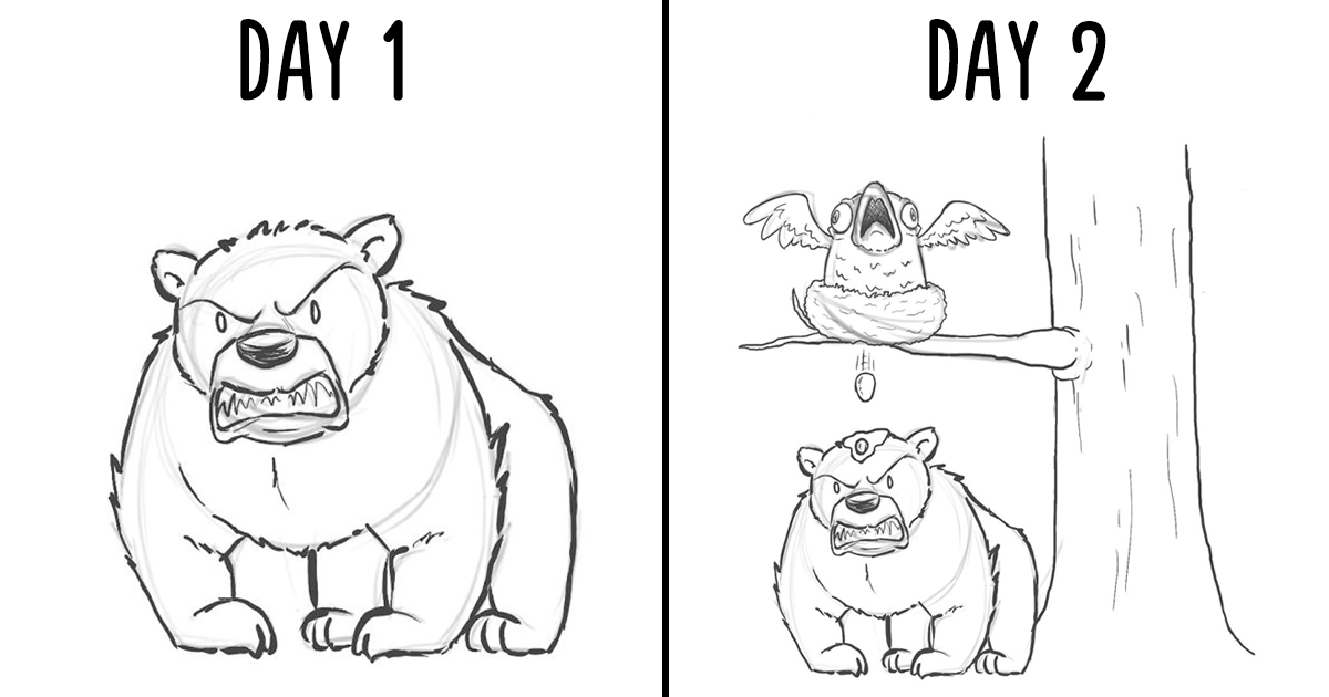 I Challenged Myself To Add One Character A Day To This Bear Drawing For 19 Days, And Here's The Result