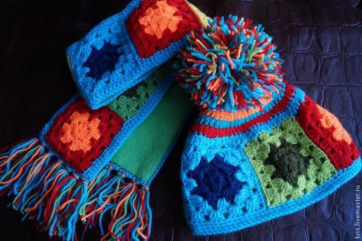 Вязание шапочки из остатков пряжи, или «Любимый бабушкин квадрат»